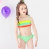 color 1colorful pleated little girl teen swimwear bikini