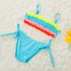color 3colorful pleated little girl teen swimwear bikini