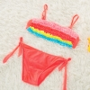 color 4colorful pleated little girl teen swimwear bikini