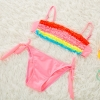 color 5colorful pleated little girl teen swimwear bikini