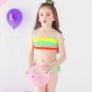 colorful pleated little girl teen swimwear bikini