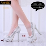 fashion pearl bead shoes wedding bride pumps shoes