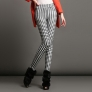 white fleece lining block pattern women pant trouser