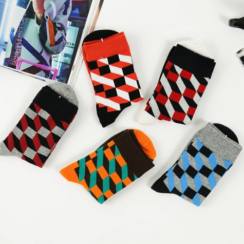 fall fashion shepherd check colorful  men's socks designs