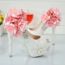 floral bead wedding shoes bride pumps