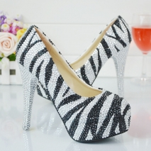 wild fashion zebra women party shoes pumps