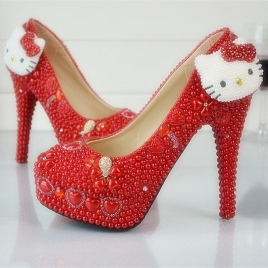fashion cute kitty cat pendant women shoes wedding shoes pumps