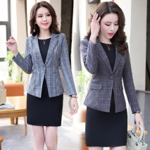 fashion grid printing office women's dress suits twinset