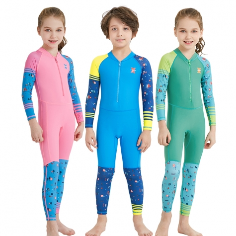 2018 zipper printing girl boy children wetsuits swimwear