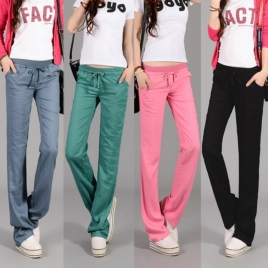 cotton line comfortable soft women pant sport trousers