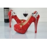 fashion dual-heart tassel pendant young lady pumps shoes wedding shoes