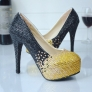 new design golden black young lady  wedding shoes pumps