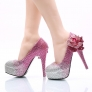 high quality overlay color young lady  wedding shoes pumps