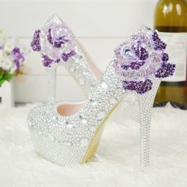 high quality floral women wedding  crystal shoes pumps