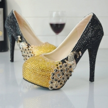 golden black peacock women wedding crystal shoes pumps