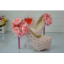 lace flower women wedding shoes pumps