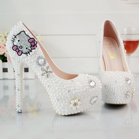 cute kitty women wedding shoes pumps