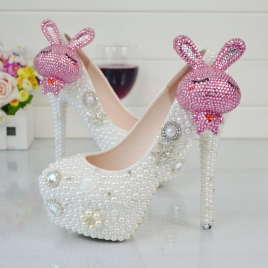 2018 new design rabbit  bride shoes women wedding shoes pumps