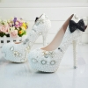 2018 black-bow bride shoes women wedding crystal shoes pumps