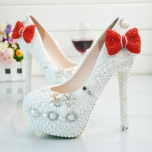 2018 red-bow bride shoes women wedding crystal shoes high heel pumps