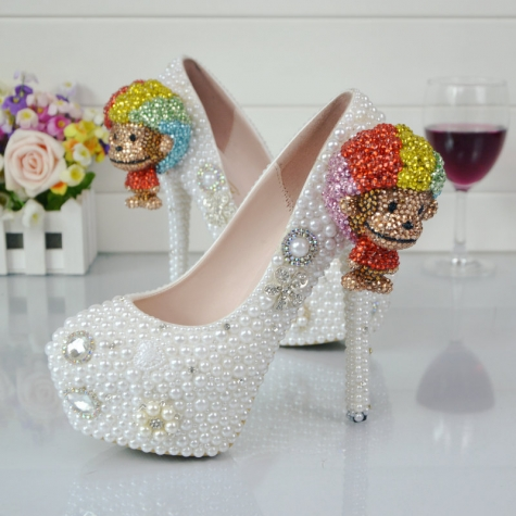 2018 cute monkey bride shoes women wedding crystal shoes high heel pumps
