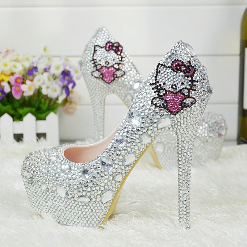 2018 Cute Hello Kitty Bride Shoes Women Wedding Crystal Shoes High Heel  Shoes