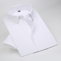 summer solid color short sleeve men shirts white color