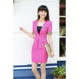 korea summer thin short sleeve  leopard hem office women skirts suits