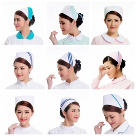 fashion high quality nurse doctor bar printing hat nurse hat