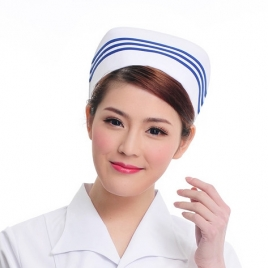fashion three bar medical store clerk hat nurse doctor  hat uniform
