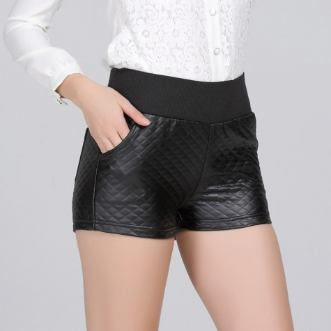 casual sexy women pu leather shorts