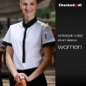 women short sleeve white(black collar) black patchwork closure bar waiter shirts cafe uniforms