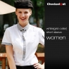 women short sleeve white(grid collar) black patchwork closure bar waiter shirts cafe uniforms