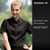 women short sleeve blackblack patchwork closure bar waiter shirts cafe uniforms