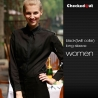 women long sleeve blackblack patchwork closure bar waiter shirts cafe uniforms
