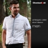 men short sleeve white(checkered collar) black patchwork closure bar waiter shirts cafe uniforms