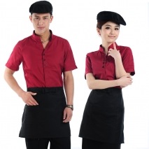 v-collar hotel waiter shirt + apron