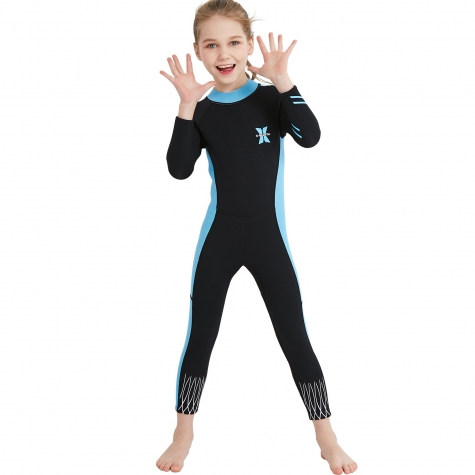 long sleeve one-piece girl  children wetsuit swimming suit swimwear