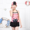 Redcartoon cat  head printing children swimwear swimsuit