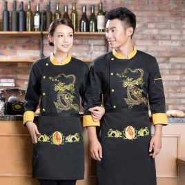 long sleeve dragon Chinese restaurant  chef jacket baker uniform