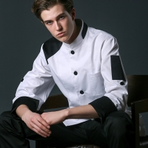 young patchwork fashion restaurant  chef jacket baker uniform