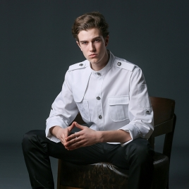 young handsome restaurant  chef jacket baker uniform coat