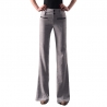 Light GrayEurope Russia style wide leg women's flare pant,bell-bottom trousers