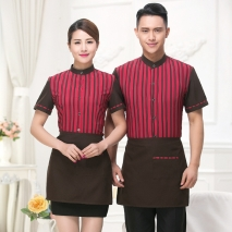 high quality stripes hotel restaurant waiter waitress shirt uniform with apron