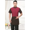 men redhigh quality stripes hotel restaurant waiter waitress shirt uniform with apron