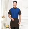 men sapphirehigh quality stripes hotel restaurant waiter waitress shirt uniform with apron