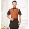 men orangehigh quality stripes hotel restaurant waiter waitress shirt uniform with apron