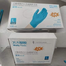 China Wally plastic  vinyl/nitrile blend non-medical disposable  gloves
