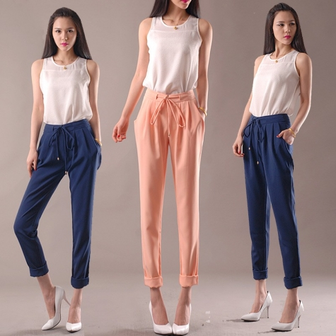 casual loose Korea elastic harm pant for lady