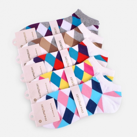 spring contract color argyle knitted women socks